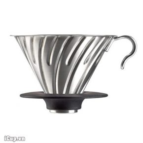 Phễu lọc cafe kim loại Hario Metal Sliver V60 2 cup