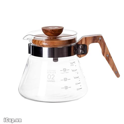 Bình đựng cà phê Hario V60 thủy tinh gỗ ô liu 600ml