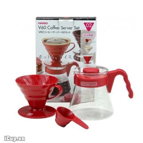 Bộ kit pha cà phê Pour Over màu đỏ Hario VCSD-02R 700ml