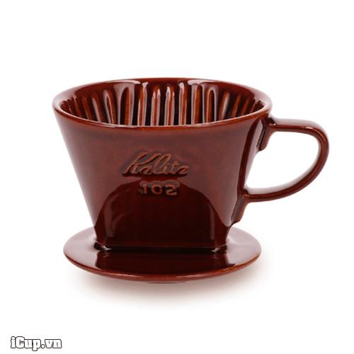 Phễu lọc cà phê sứ nâu Kalita 102 đáy 3 lỗ - Made in Japan