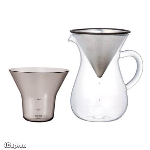 Set pha cà phê Pour Over phễu kim loại Kinto 4 cup 600ml - Nhật Bản