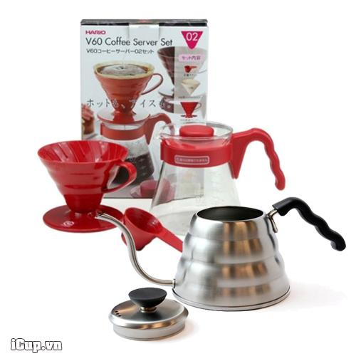 Bộ pha cà phê Pour Over cơ bản Hario VCSD-02R và ấm rót Buono 1000ml - Japan