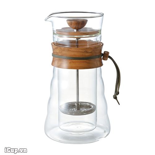 Bình pha cà phê French Press 2 lớp cổ gỗ ô liu Hario DGC-40-OV 400ml - Japan
