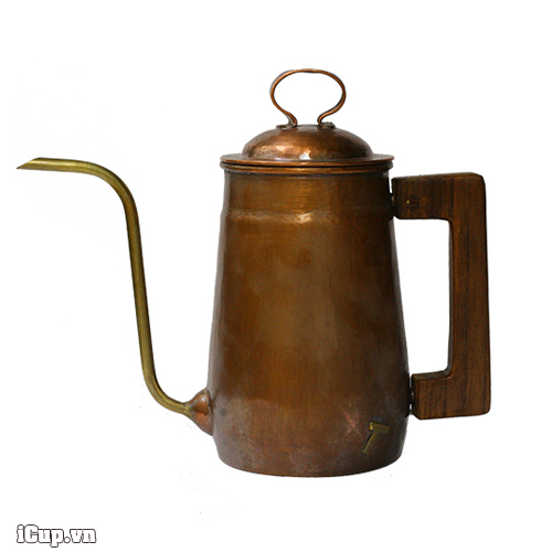 Ấm rót cà phê Hammer tay gỗ vòi cổ ngỗng bằng đồng S700 - Hàn Quốc-