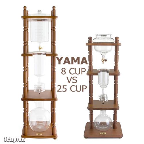 Bộ pha cà phê Yama cold drip 25 cup vs 8 cup
