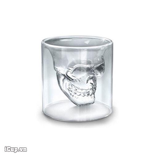 Cốc thủy tinh skull glass đầu lâu 2 lớp 75ml-