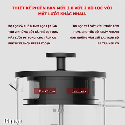 Thiết kế bộ lọc thứ 2 ngay trên nắp pittong chia làm 2 kích thước lọc trà và cà phê