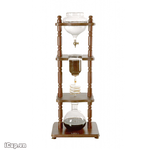 Yama 6-8 Cup (32oz) Cold Drip Coffee Maker, Brown Wood Frame