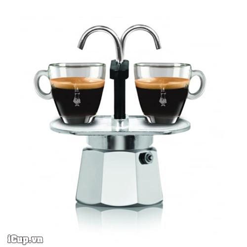 Ấm pha Moka Mini Express 2 vòi thẳng ra tách espresso