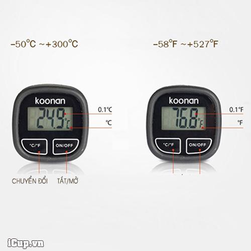 Tùy chọn hiển thị độ C và độ F trên đồng hồ đo nhiệt koonan