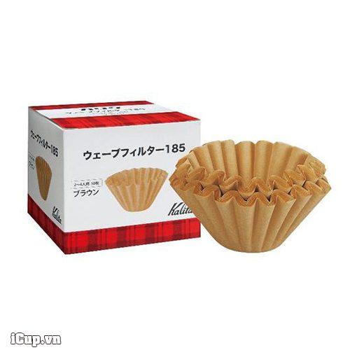 Giấy lọc cà phê Kalita Wave 185 màu nâu - Hộp 50 tờ