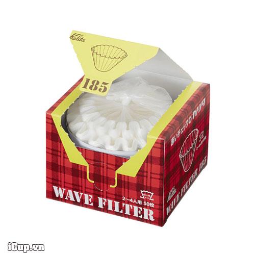 Giấy lọc cà phê Nhật Bản Kalita Wave 185 màu trắng – Hộp 50 tờ