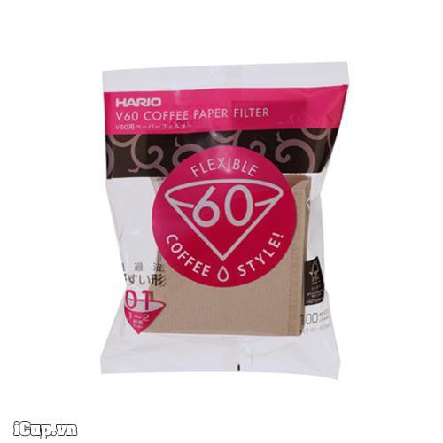 Giấy lọc cafe Hario V60 VCF-01-100M nâu