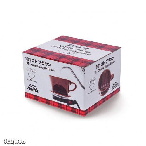 Hộp phễu lọc cà phê kalita gốm 101 màu nâu