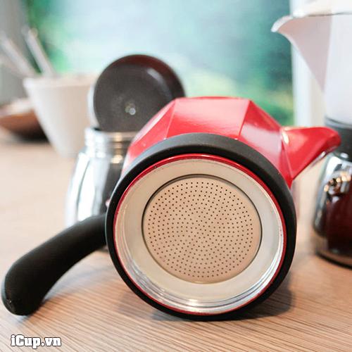 Vòng slilicone chịu nhiệt của ấm Moka Induction giúp dễ dàng vặn xoáy với phần đế