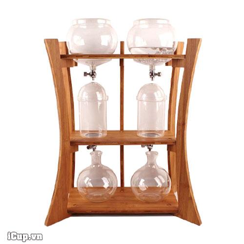 Tháp đôi gỗ tre pha cafe Cold Drip nhỏ giọt 2000ml hãng Gater BD-520