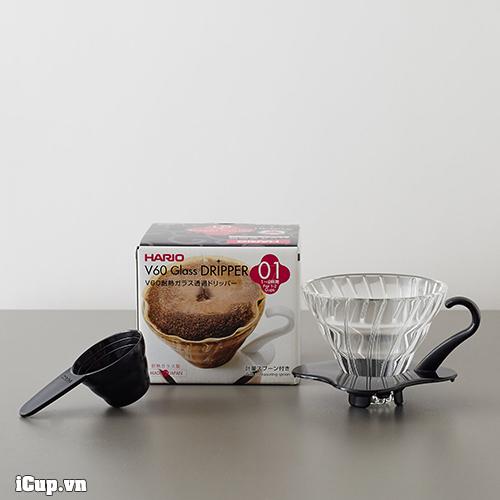 Hộp phễu lọc Hario thủy tinh đi kèm sẵn 1 thìa đong cà phê