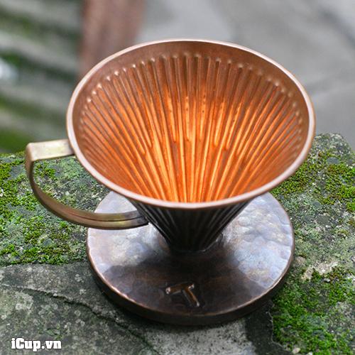 Phễu lọc cà phê bằng đồng đỏ Hammer size 02 phong cách vintage của Hàn Quốc