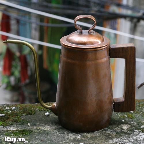 Ấm rót drip Hammer tay gỗ vòi cổ ngỗng bằng đồng S700 - Hàn Quốc