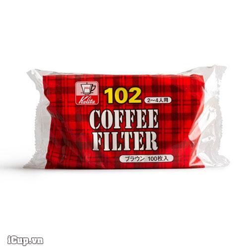 Bịch 100 tờ giấy lọc cafe Kalita size 102 màu trắng sản xuất tại Nhật