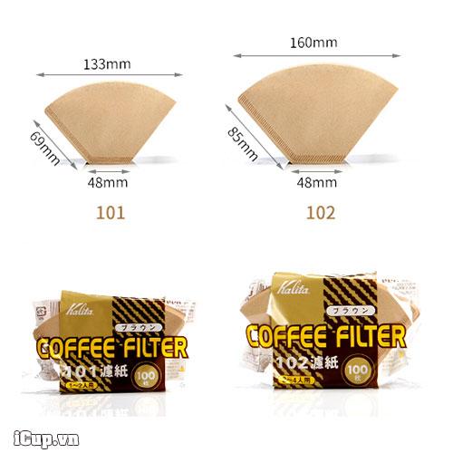 Kích thước của giấy lọc cà phê Kalita 101 và Kalita 102