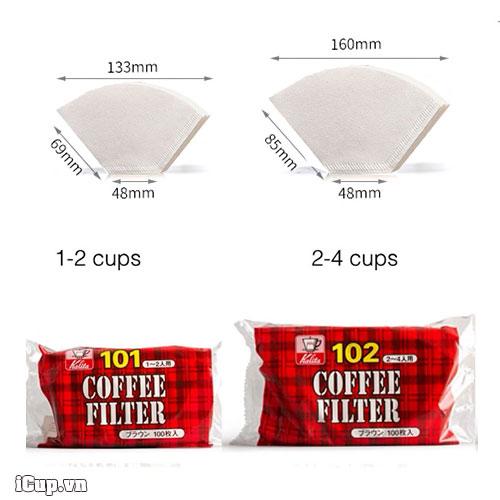 Kích thước giấy lọc cà phê Kalita 102 và 102