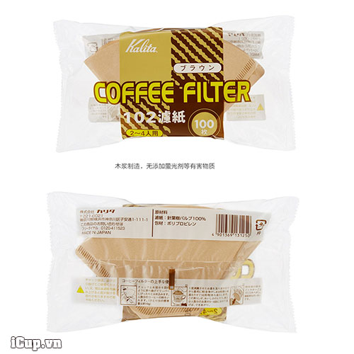 Mặt trước và sau túi giấy lọc cà phê kalita