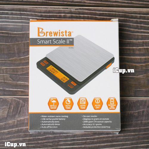 Hộp của cân Brewista với màu cam đặc trưng của hãng