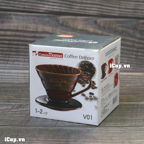 Hộp phễu lọc cà phê sứ nâu Tiamo chụp tại iCup