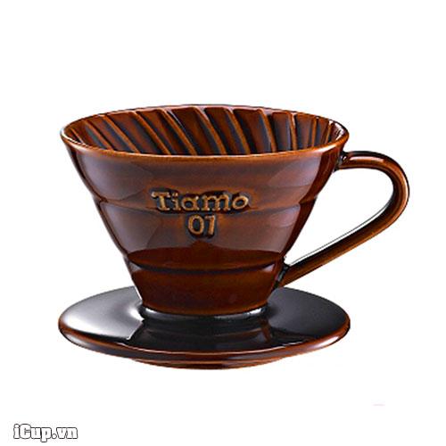 Phễu lọc cà phê V60 bằng gốm tráng men nâu Cafede Tiamo size 01