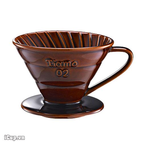 Phễu lọc cà phê V60 Cafede Tiamo 02 gốm men nâu