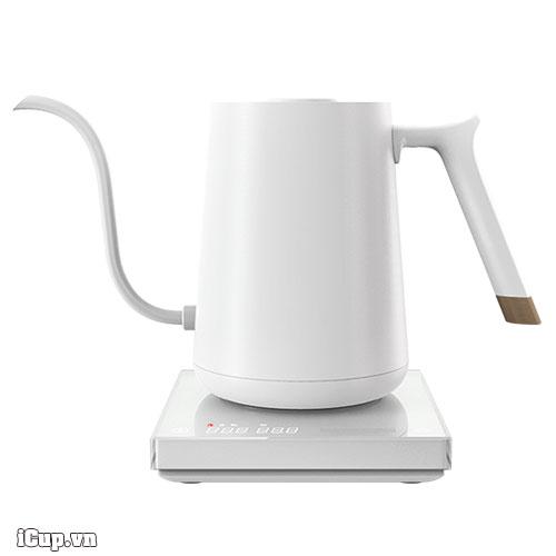 Ấm điện Timemore màu trắng với thanh cảm ứng nhiệt tuỳ chỉnh