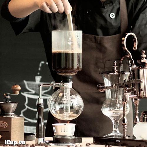 Pha cà phê với syphon Timemore tay cầm gỗ óc chó