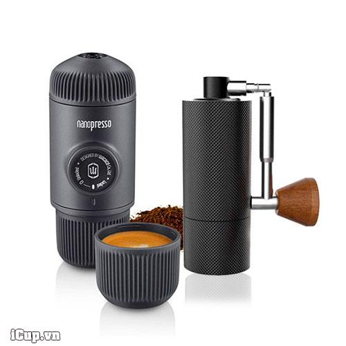 NanoPresso và máy xay cà phê tay Timemore Nano Plus siêu nhỏ