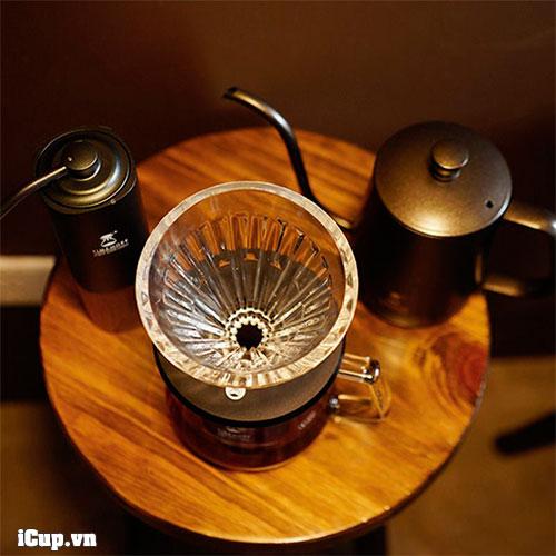 Set pha cà phê hoàn hảo cùng với máy xay tay Timemore Chestnut G1, bộ ấm rót và phễu thuỷ tinh sang trọng