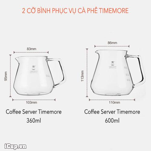 2 bình phục vụ cà phê Timemore dung tích khách nhau tuỳ thuộc nhu cầu người sử dụng