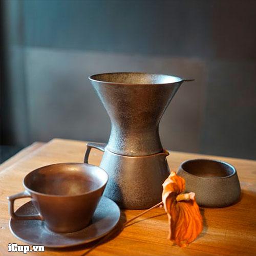 Bộ pha cà phê Pour Over Tianmu phủ men sắt đen thô mộc