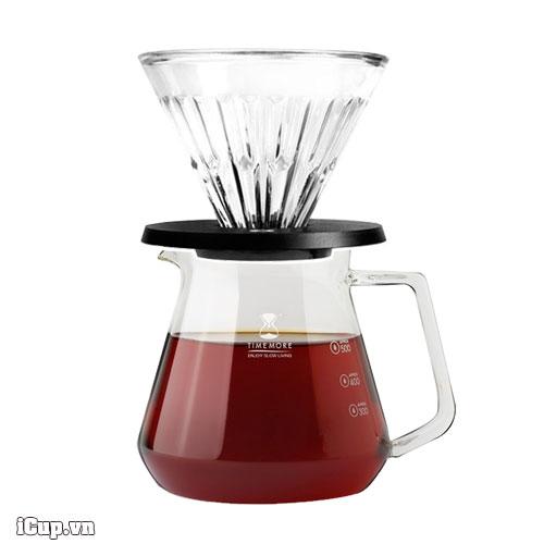 Combo phễu lọc 02 và bình đựng cà phê Timemore thuỷ tinh 600ml