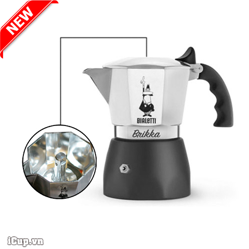 Ấm pha cà phê Bialetti Brikka 2 cup phiên bản van xả áp mới 2021