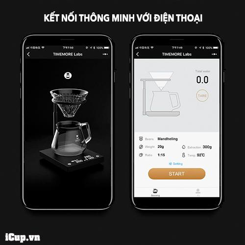 Cân điện tử Timemore Smart Mirror 2 có thể kết nối với điện thoại