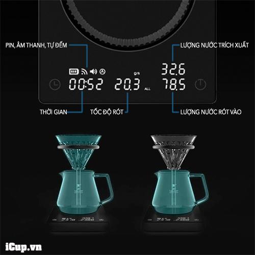 Cân Timemore Mirror 2 chứa nhiều thông số pha chế cà phê