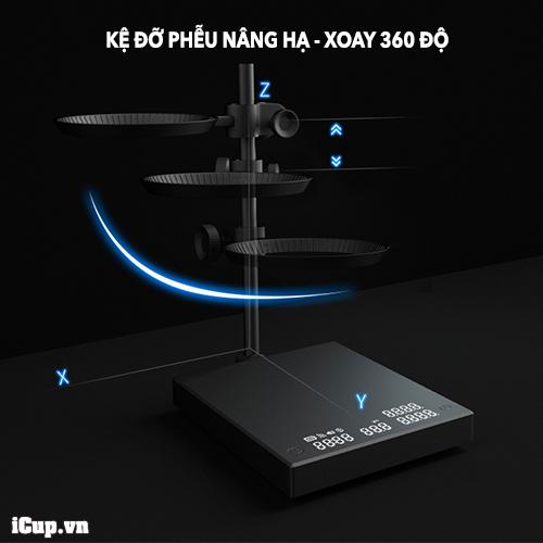 Giá đỡ phễu lọc xoay 360 độ và nâng hạ dễ dàng trên Smart Mirror 2