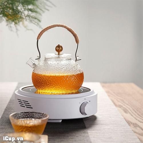 Bếp điện hồng ngoại có thể đun nước với ấm thủy tinh