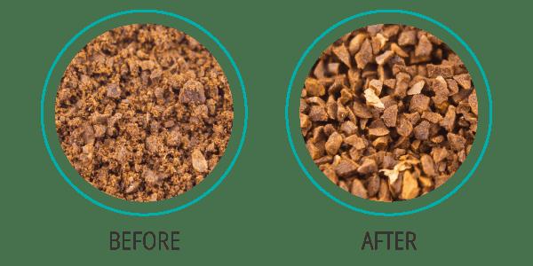 Trước và sau khi sử dụng sàng lọc bột Kruve
